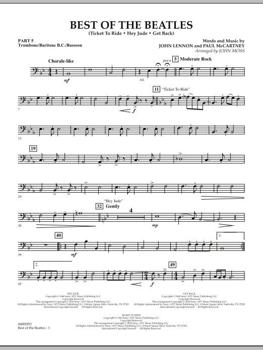 The Beatles Best of The Beatles (arr. John Moss) - Pt.5 - Trombone/Bar. B.C./Bsn. sheet music notes and chords. Download Printable PDF.