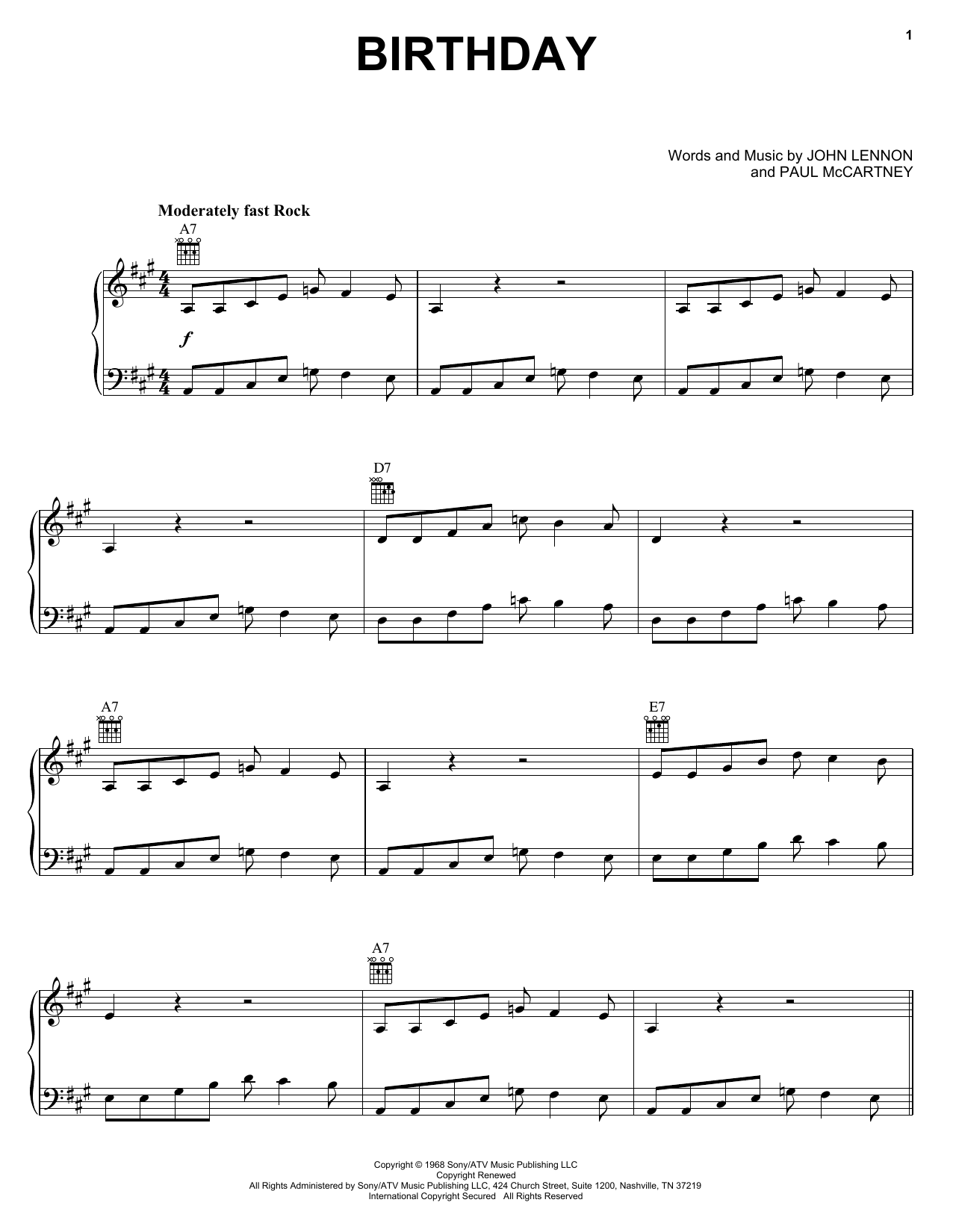 The Beatles Birthday sheet music notes and chords. Download Printable PDF.