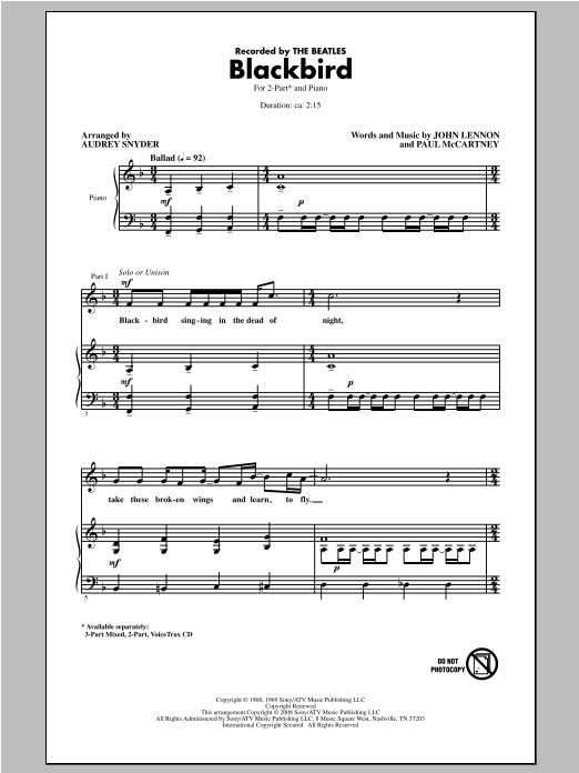 The Beatles Blackbird (arr. Audrey Snyder) sheet music notes and chords. Download Printable PDF.