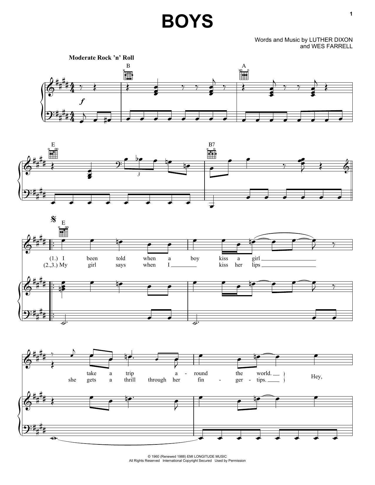 The Beatles Boys sheet music notes and chords. Download Printable PDF.