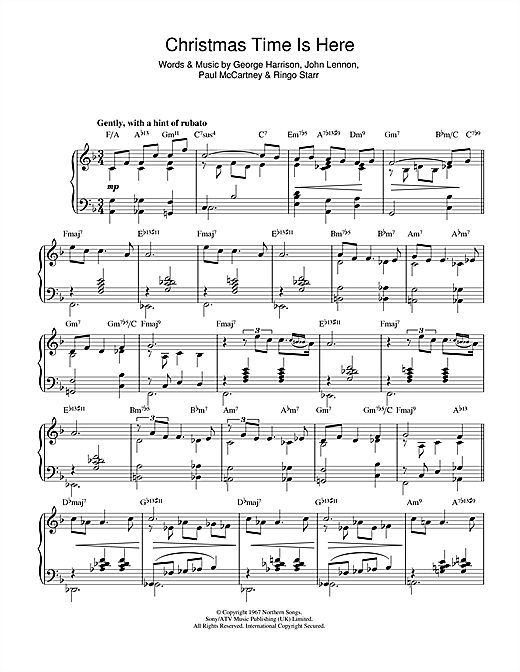 Christmas Time Is Here Sheet Music.The Beatles Christmas Time Is Here Again Jazz Version Sheet Music Notes Chords Download Printable Piano Solo Sku 49560
