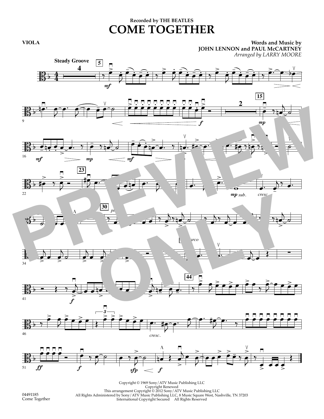 The Beatles Come Together (arr. Larry Moore) - Viola sheet music notes and chords. Download Printable PDF.