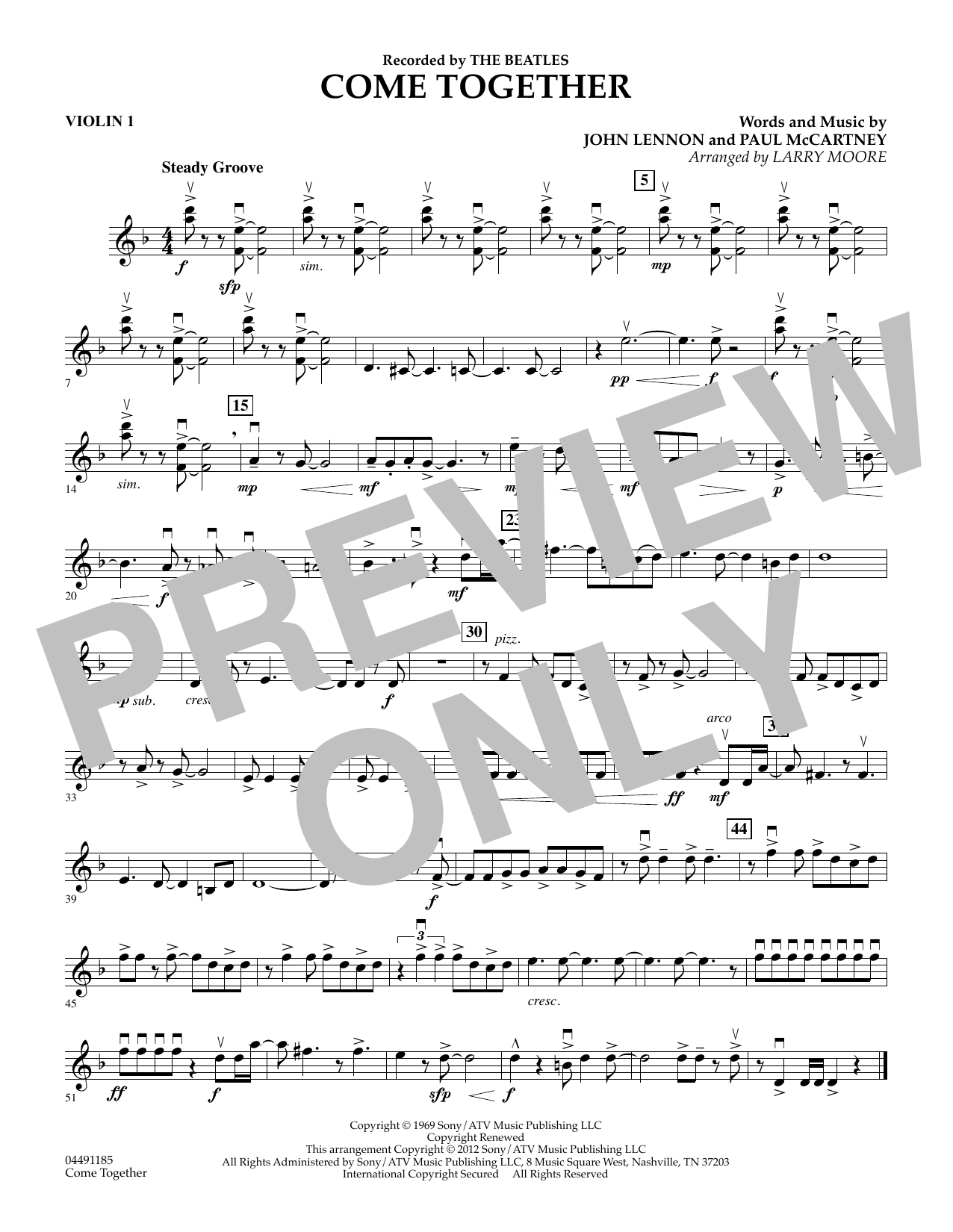 The Beatles Come Together (arr. Larry Moore) - Violin 1 sheet music notes and chords. Download Printable PDF.