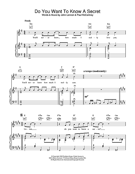 The Beatles Do You Want To Know A Secret sheet music notes and chords