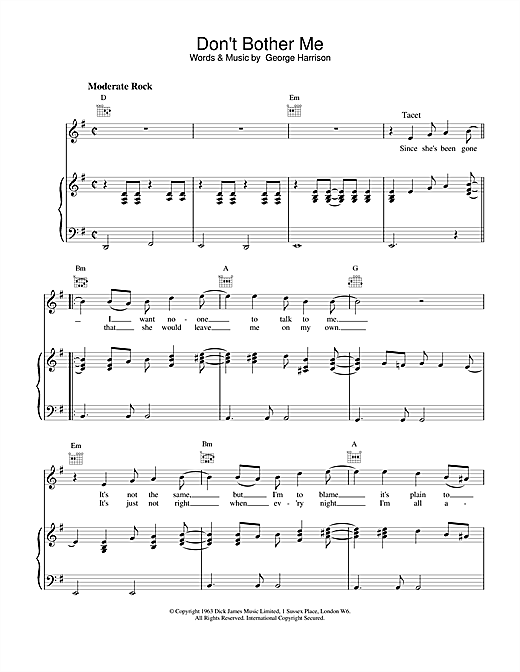 The Beatles Don't Bother Me sheet music notes and chords