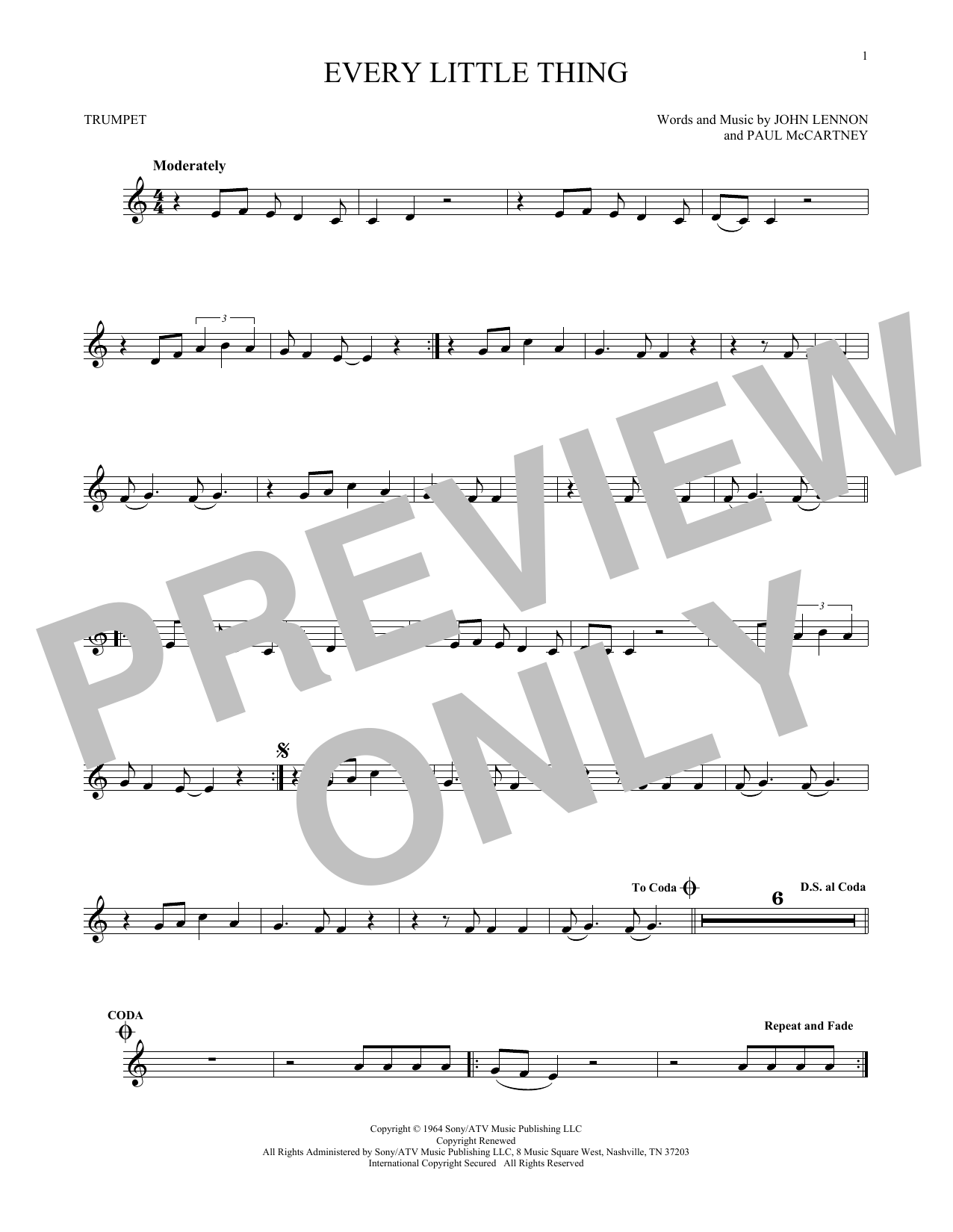 The Beatles 'Every Little Thing' Sheet Music Notes, Chords | Download  Printable Trumpet Solo - SKU: 171220