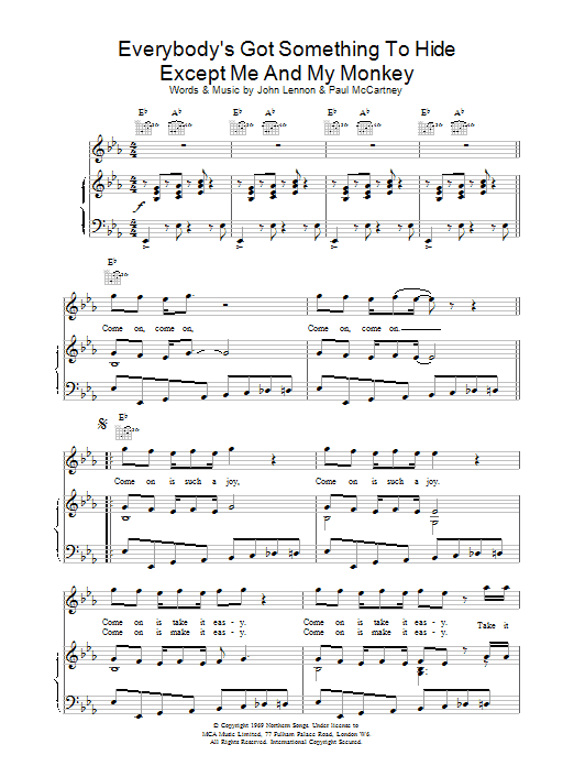 The Beatles Everybody's Got Something To Hide etc. sheet music notes and chords. Download Printable PDF.