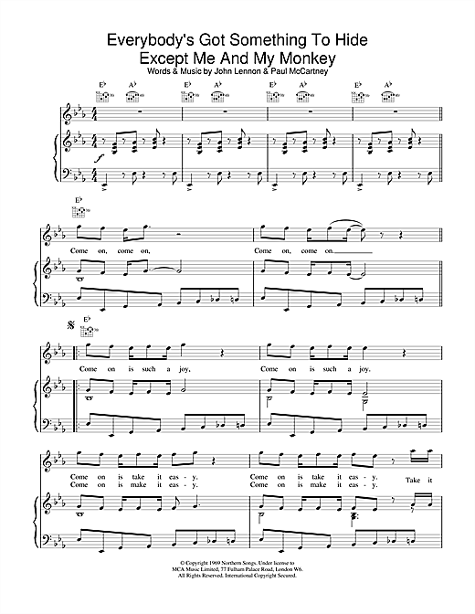 The Beatles Everybody's Got Something To Hide Except Me And My Monkey sheet music notes and chords
