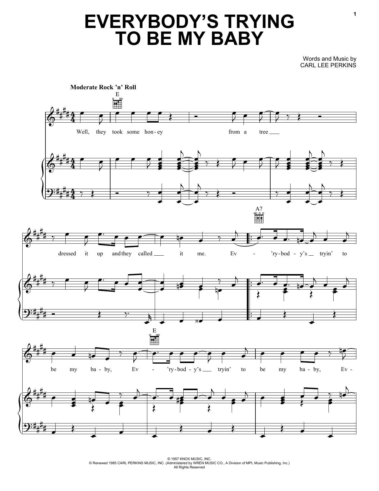 The Beatles Everybody's Trying To Be My Baby sheet music notes and chords. Download Printable PDF.