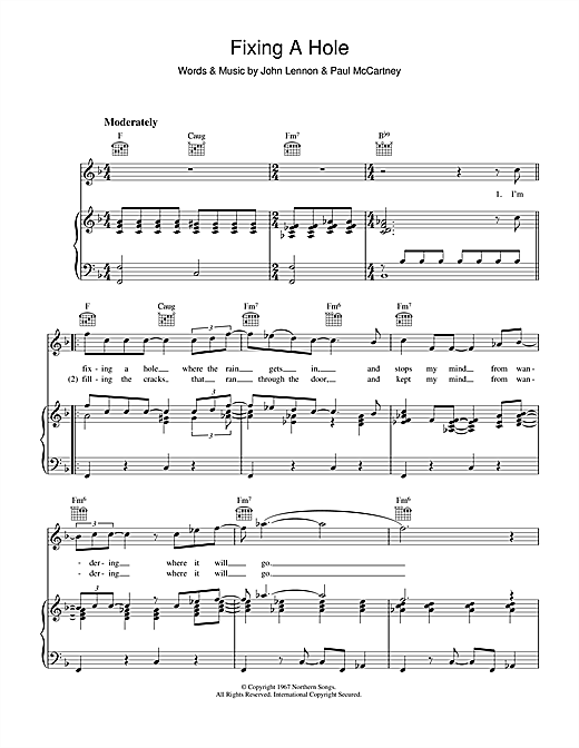 The Beatles Fixing A Hole sheet music notes and chords. Download Printable PDF.