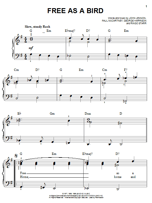 The Beatles Free As A Bird sheet music notes and chords