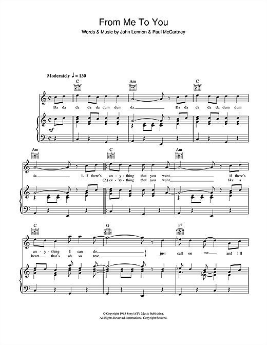 The Beatles From Me To You sheet music notes and chords. Download Printable PDF.