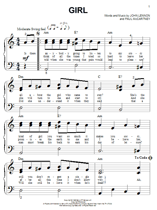 The Beatles Girl sheet music notes and chords. Download Printable PDF.