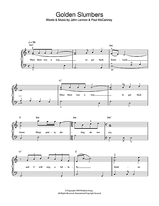 The Beatles Golden Slumbers sheet music notes and chords. Download Printable PDF.