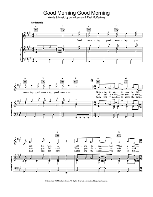 The Beatles Good Morning Good Morning sheet music notes and chords