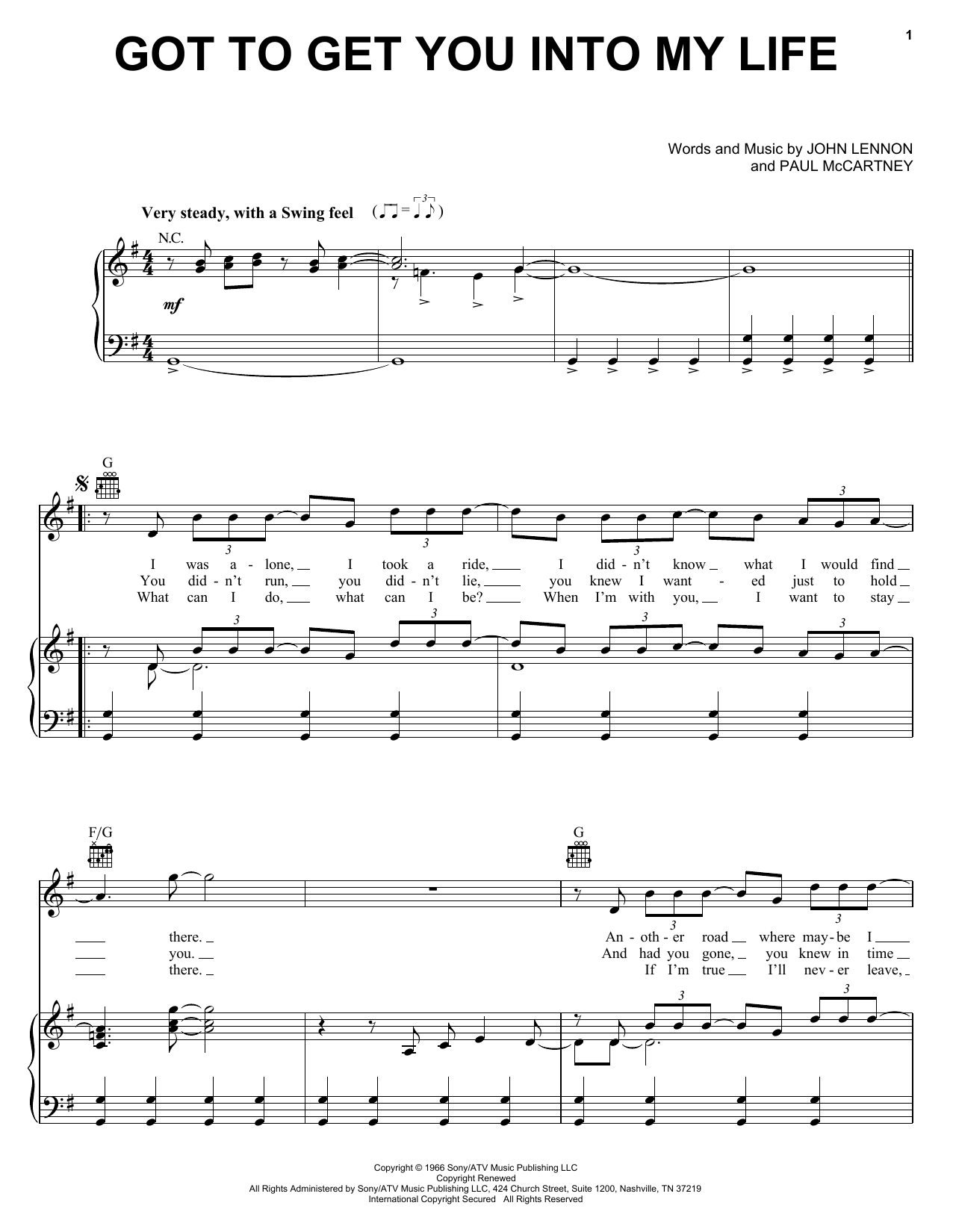 The Beatles Got To Get You Into My Life sheet music notes and chords. Download Printable PDF.