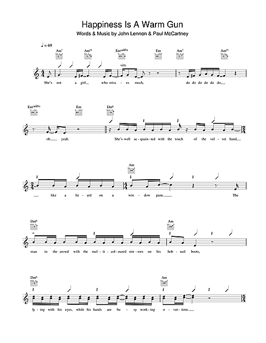 The Beatles Happiness Is A Warm Gun sheet music notes and chords. Download Printable PDF.