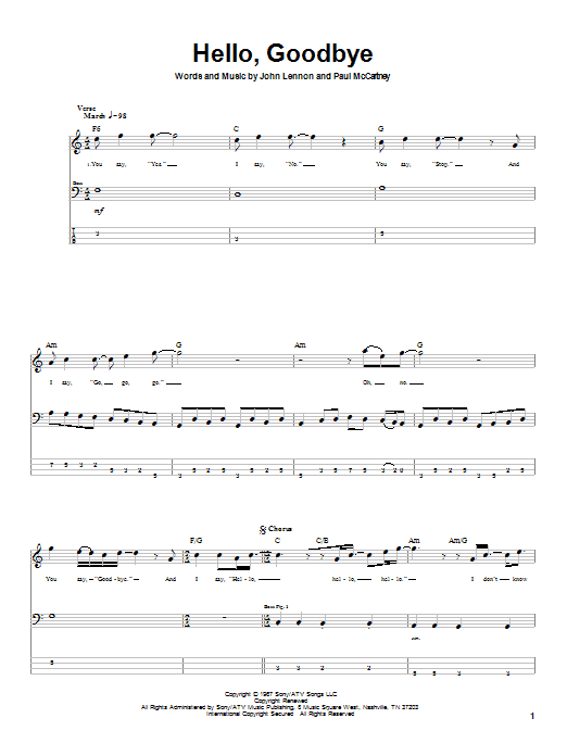 The Beatles Hello, Goodbye sheet music notes and chords. Download Printable PDF.
