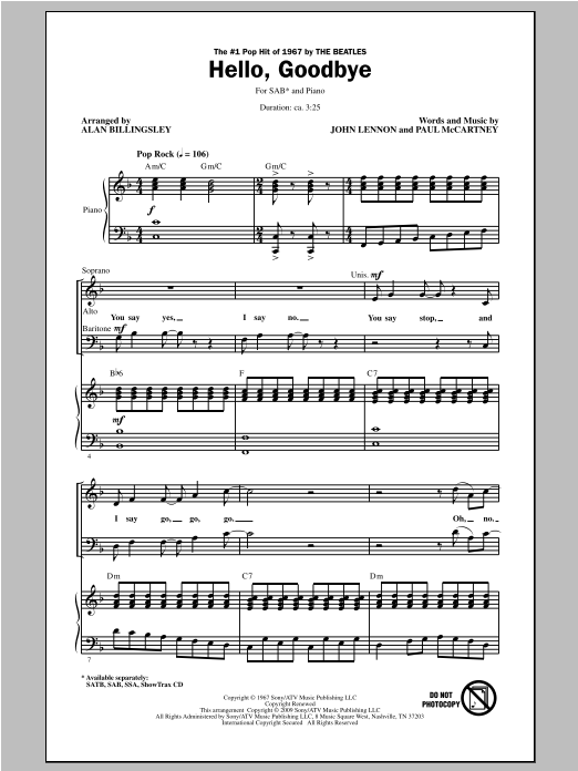 The Beatles Hello, Goodbye (arr. Alan Billingsley) sheet music notes and chords. Download Printable PDF.