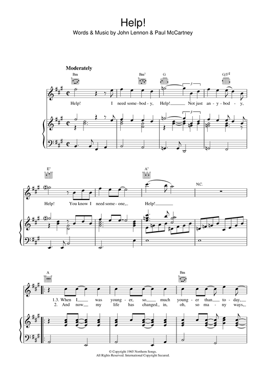 The Beatles Help! sheet music notes and chords