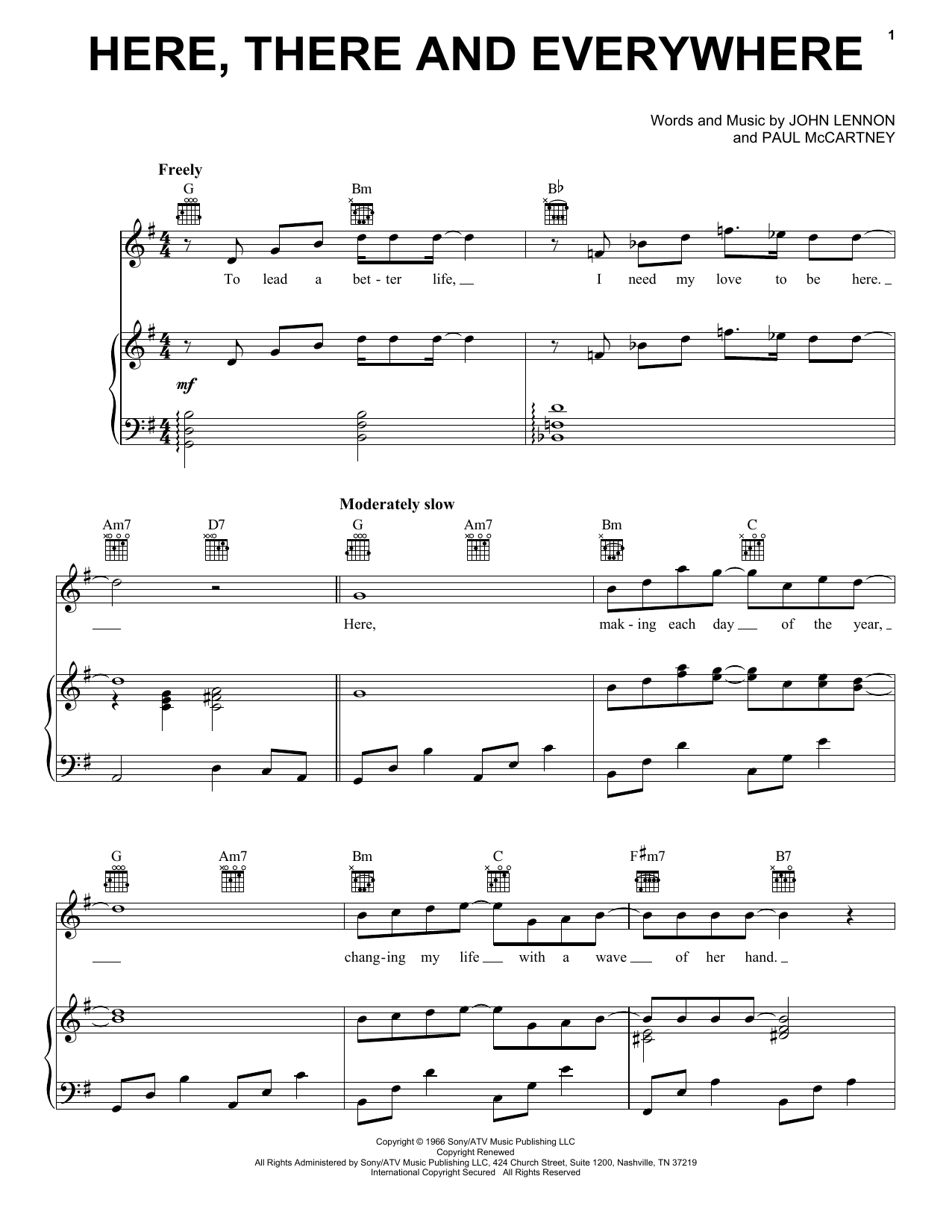 The Beatles Here, There And Everywhere sheet music notes and chords