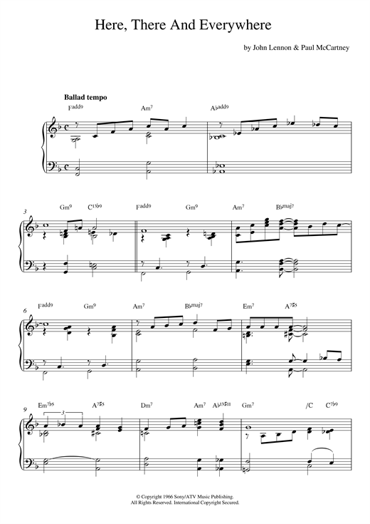 The Beatles Here, There And Everywhere [Jazz version] sheet music notes and chords. Download Printable PDF.