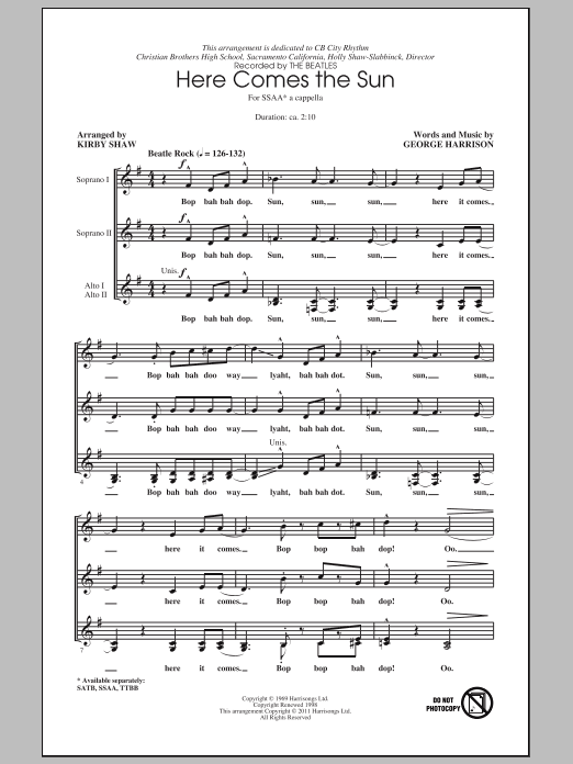 The Beatles Here Comes The Sun (arr. Kirby Shaw) sheet music notes and chords. Download Printable PDF.