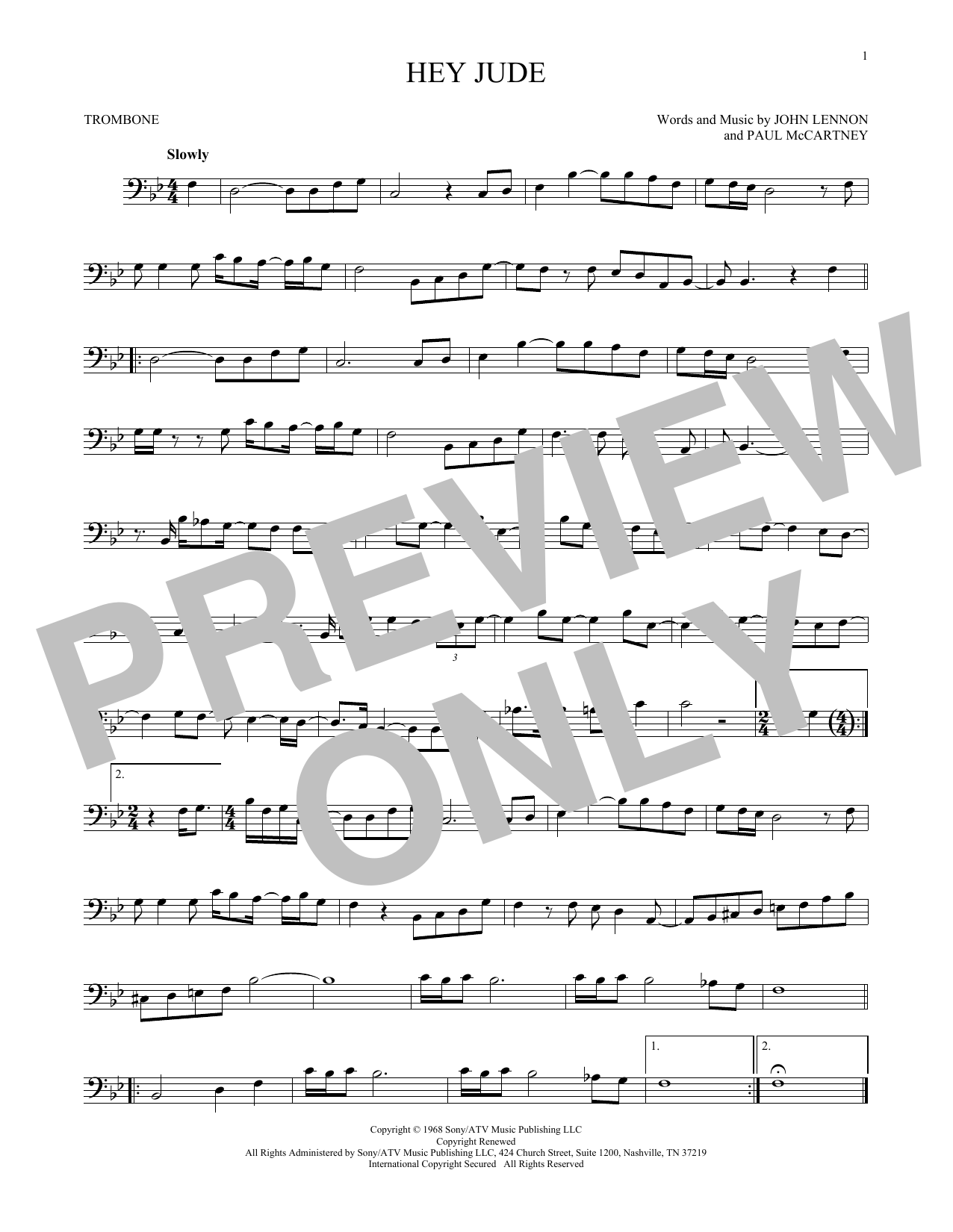 The Beatles 'Hey Jude' Sheet Music Notes, Chords | Download Printable  Trombone Solo - SKU: 171048