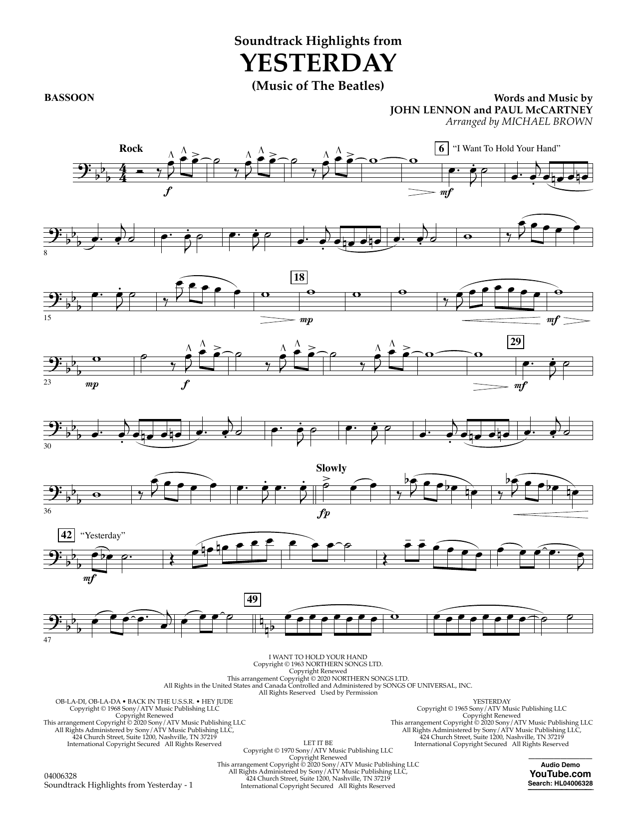 The Beatles Highlights from Yesterday (Music Of The Beatles) (arr. Michael Brown) - Bassoon sheet music notes and chords. Download Printable PDF.