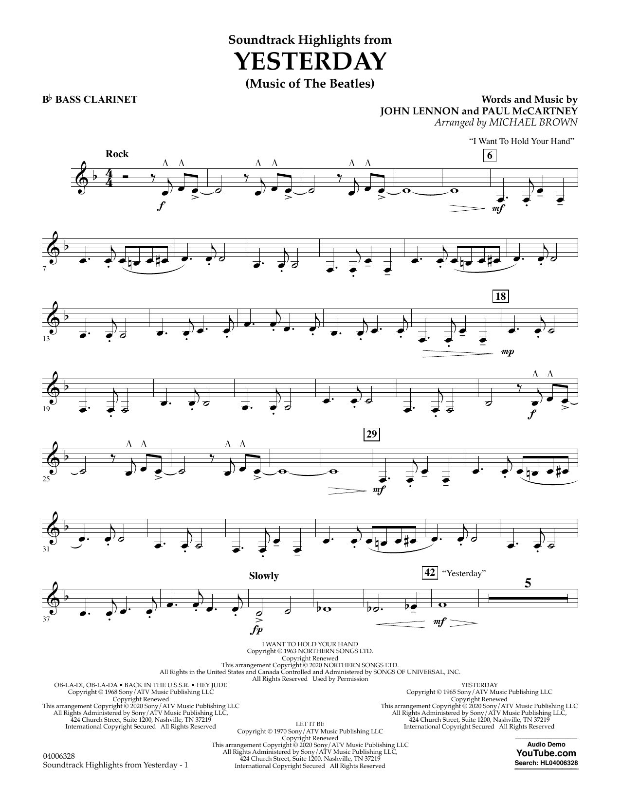 The Beatles Highlights from Yesterday (Music Of The Beatles) (arr. Michael Brown) - Bb Bass Clarinet sheet music notes and chords. Download Printable PDF.
