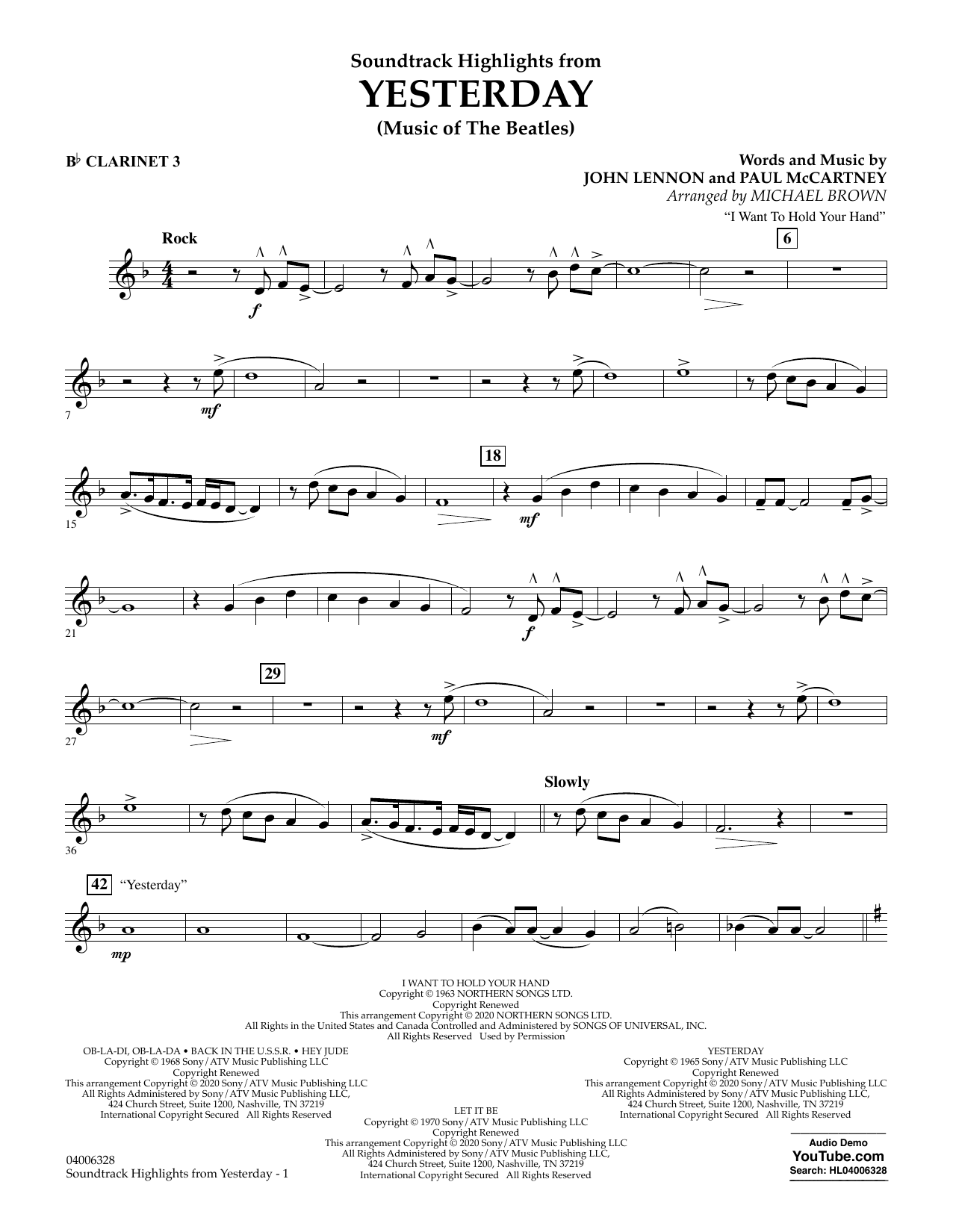 The Beatles Highlights from Yesterday (Music Of The Beatles) (arr. Michael Brown) - Bb Clarinet 3 sheet music notes and chords. Download Printable PDF.