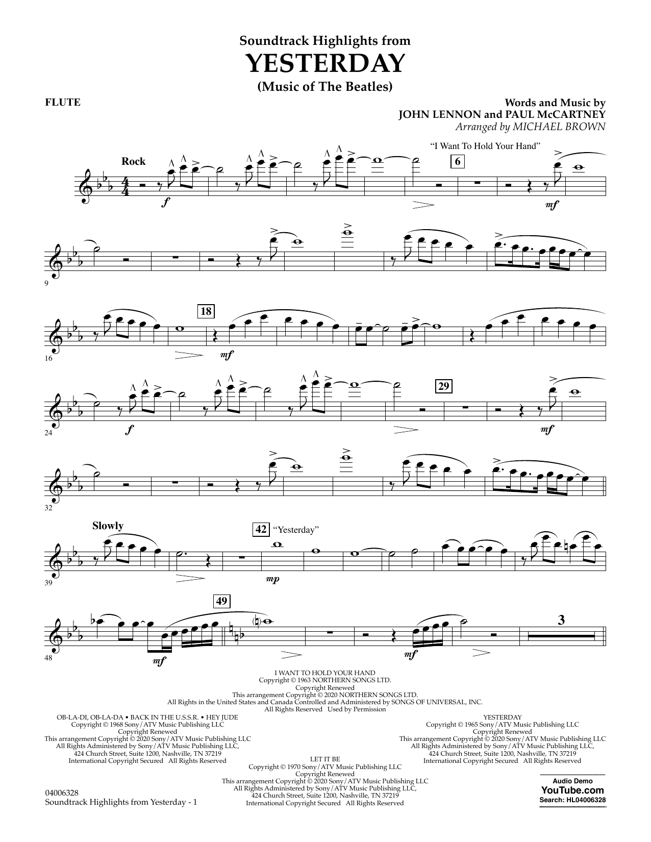 The Beatles Highlights from Yesterday (Music Of The Beatles) (arr. Michael Brown) - Flute sheet music notes and chords. Download Printable PDF.