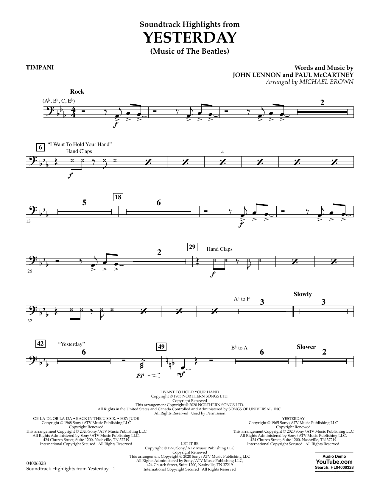 The Beatles Highlights from Yesterday (Music Of The Beatles) (arr. Michael Brown) - Timpani sheet music notes and chords. Download Printable PDF.