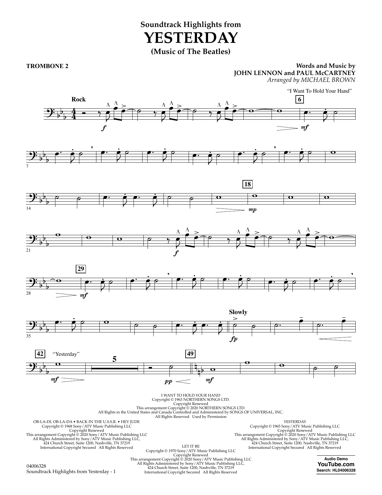 The Beatles Highlights from Yesterday (Music Of The Beatles) (arr. Michael Brown) - Trombone 2 sheet music notes and chords. Download Printable PDF.