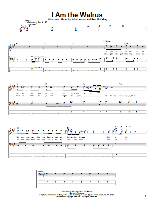 The Beatles I Am The Walrus sheet music notes and chords. Download Printable PDF.