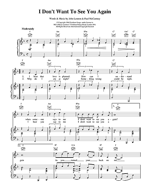 The Beatles I Don't Want To See You Again sheet music notes and chords