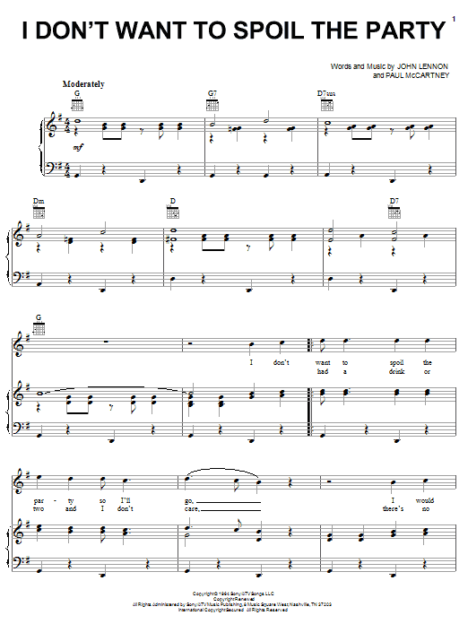 The Beatles I Don't Want To Spoil The Party sheet music notes and chords. Download Printable PDF.