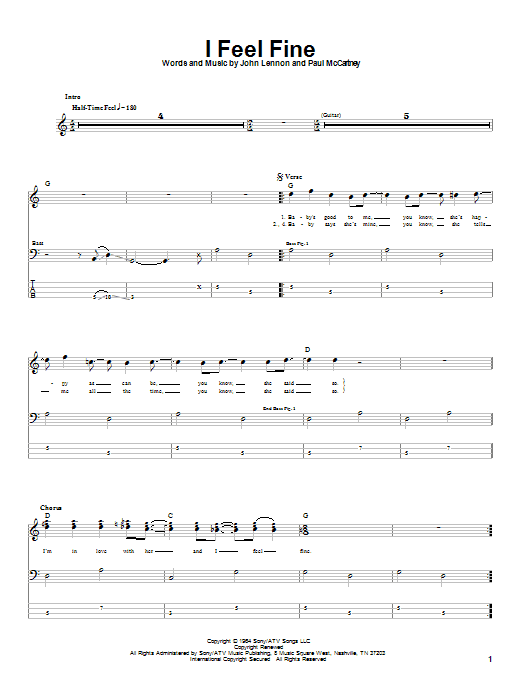 The Beatles I Feel Fine sheet music notes and chords. Download Printable PDF.