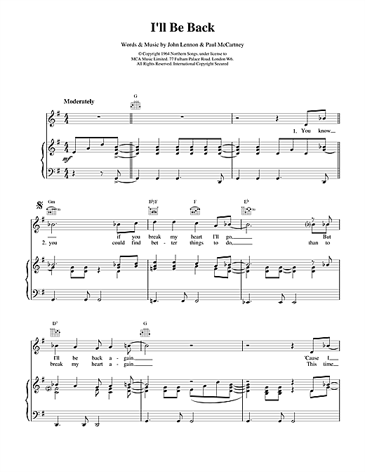 The Beatles I'll Be Back sheet music notes and chords