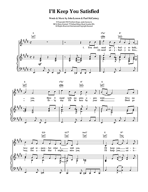 The Beatles I'll Keep You Satisfied sheet music notes and chords