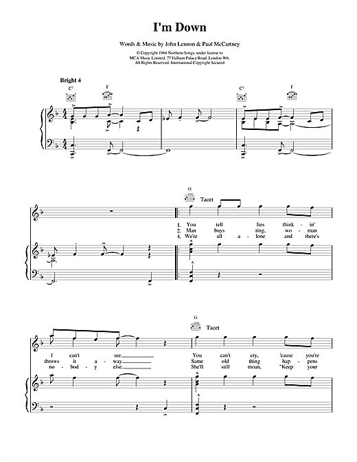 The Beatles I'm Down sheet music notes and chords