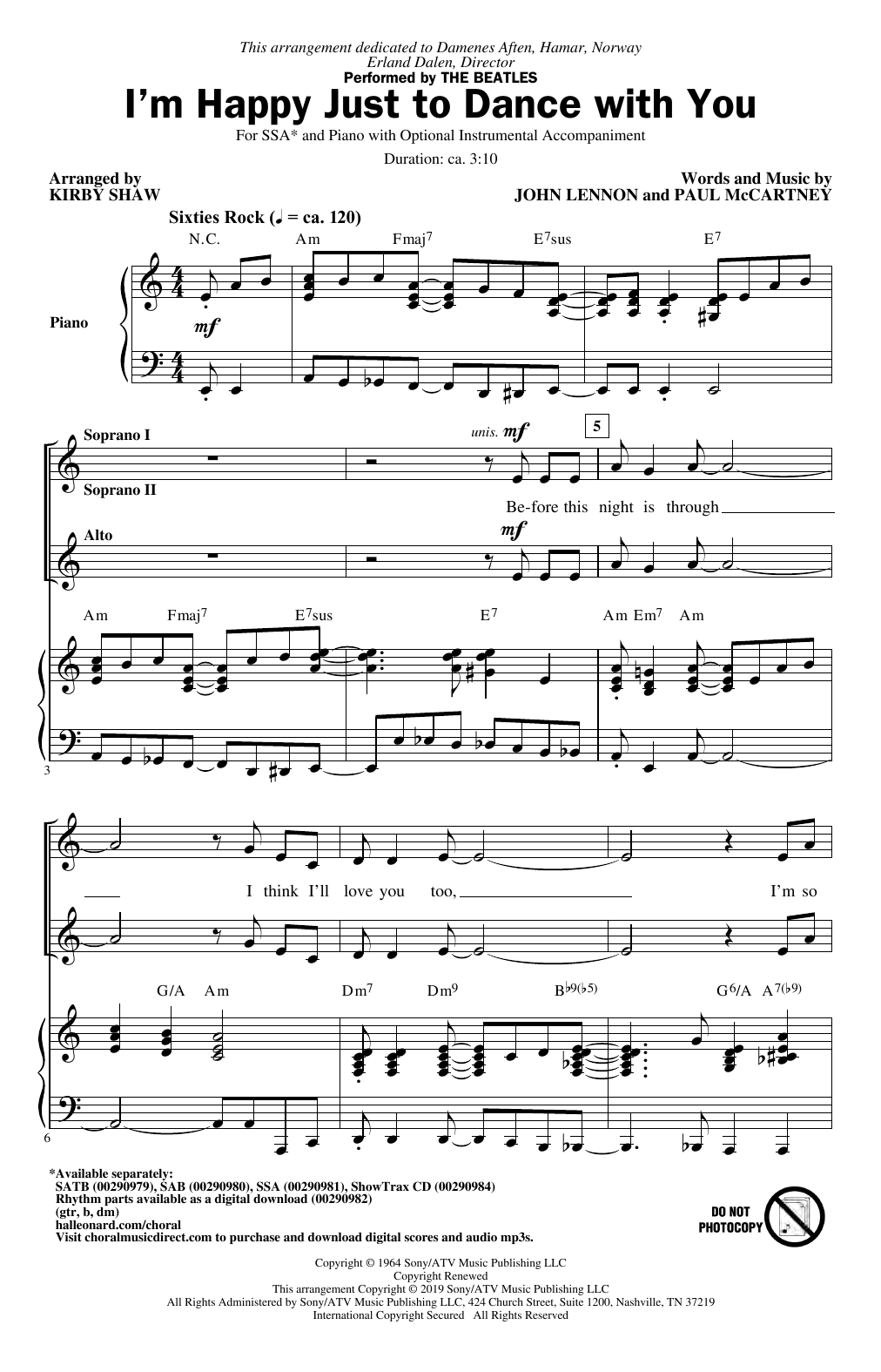 The Beatles I'm Happy Just To Dance With You (arr. Kirby Shaw) sheet music notes and chords