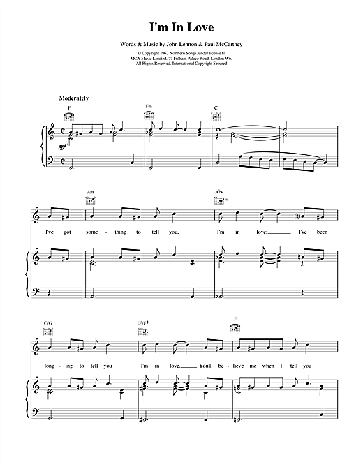 The Beatles I'm In Love sheet music notes and chords. Download Printable PDF.