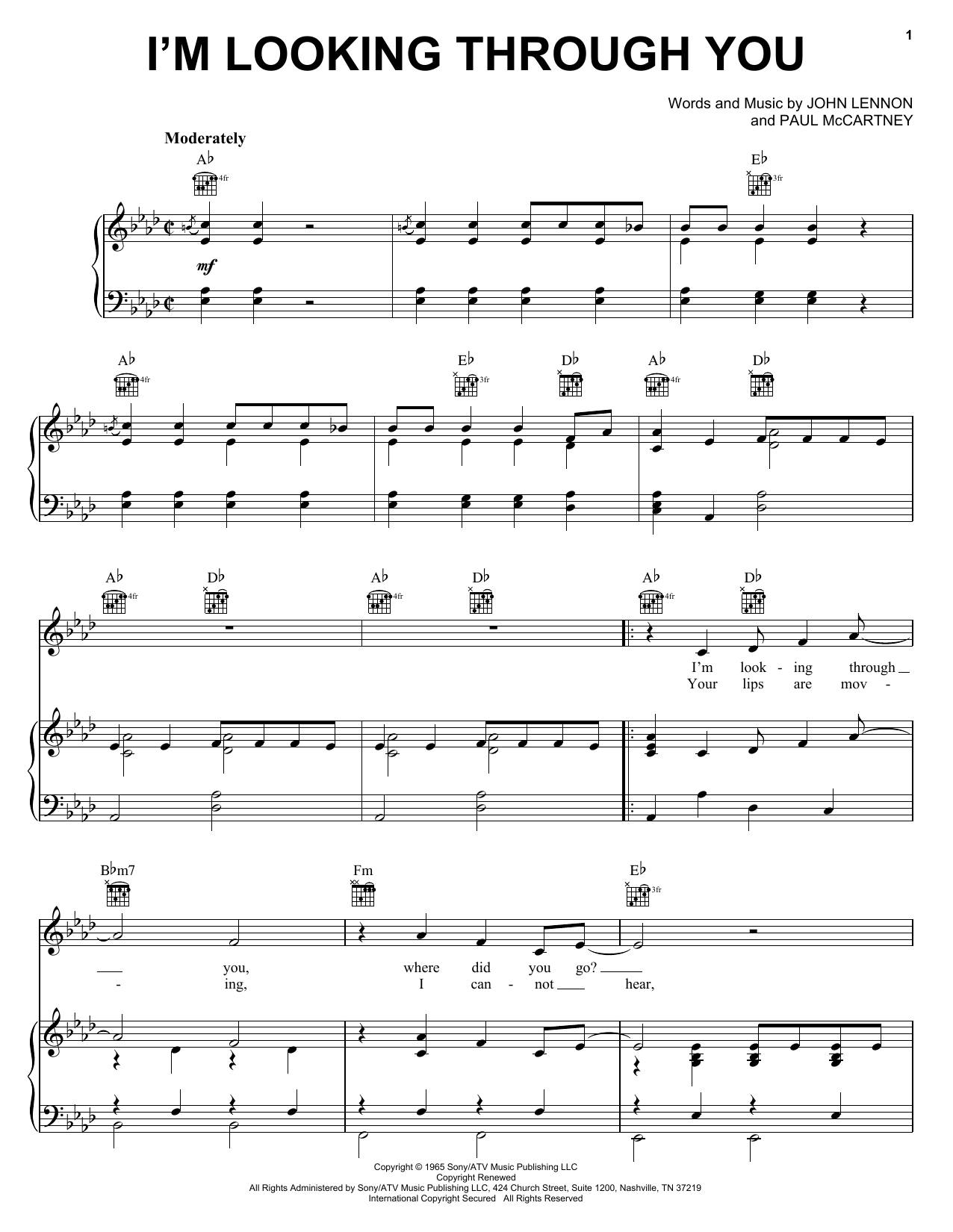 The Beatles I'm Looking Through You sheet music notes and chords. Download Printable PDF.