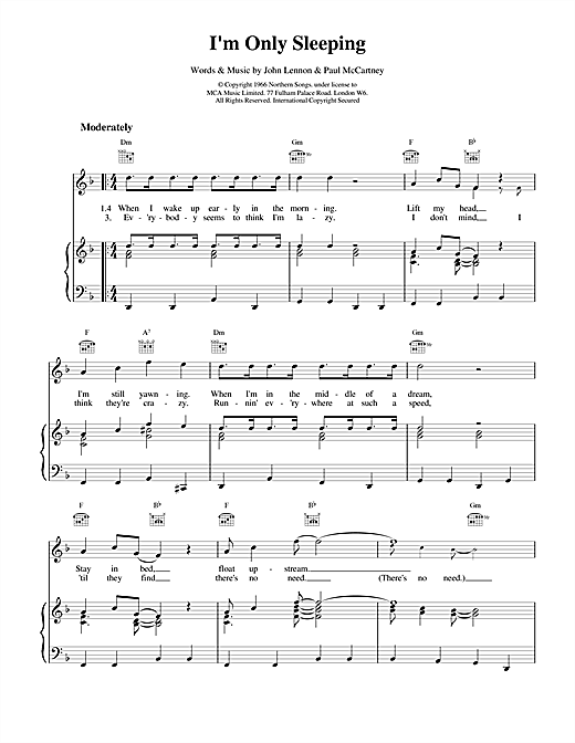 The Beatles I'm Only Sleeping sheet music notes and chords
