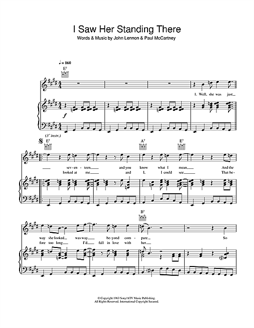 The Beatles I Saw Her Standing There sheet music notes and chords