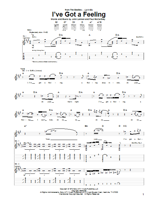 The Beatles I've Got A Feeling sheet music notes and chords. Download Printable PDF.