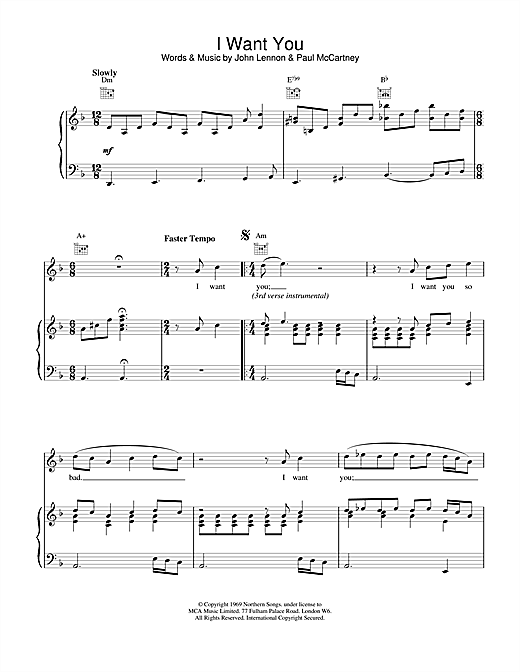 The Beatles I Want You (She's So Heavy) sheet music notes and chords. Download Printable PDF.