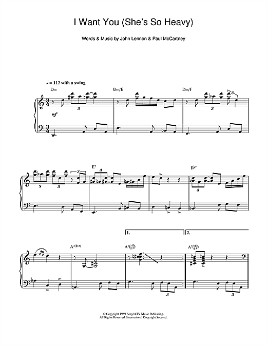 The Beatles I Want You (She's So Heavy) (jazz version) sheet music notes and chords. Download Printable PDF.