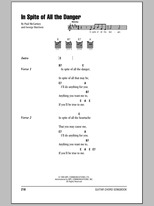 The Beatles 'In Spite Of All The Danger' Sheet Music Notes, Chords |  Download Printable Guitar Chords/Lyrics - SKU: 103326